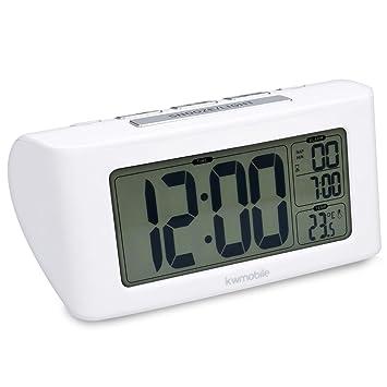 kwmobile Reloj Despertador Digital - Reloj con Temporizador y función de repetición - Indicador de Temperatura y Pantalla LCD Grande en Color Blanco: ...