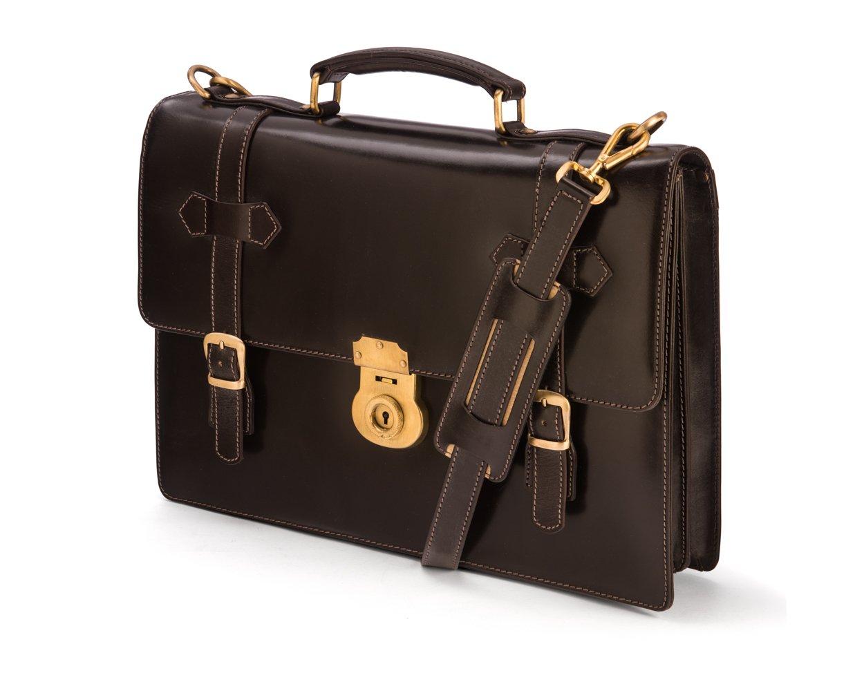 SAGEBROWN Brown Bridle Cambridge Briefcase
