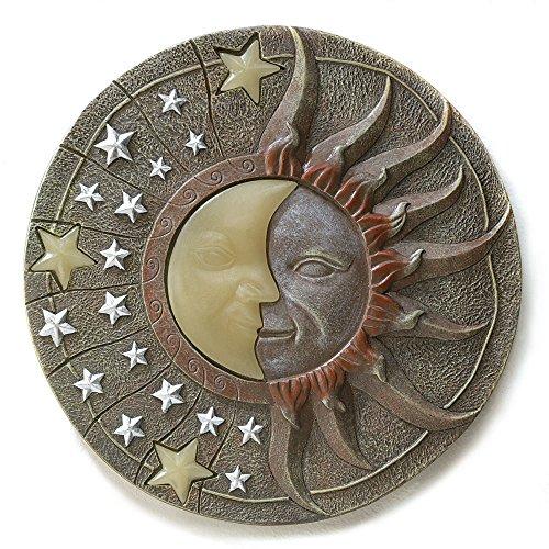 Stone Look Solar Moon Star Celestial Glow Dark Stepping Stone Polyresin Art --P#EWT43 ()