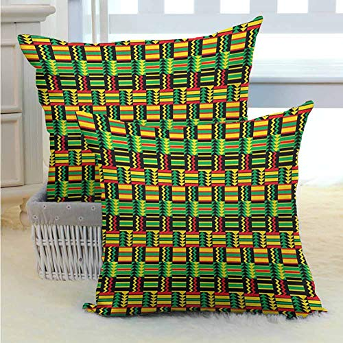 Mannwarehouse Kente Pattern Bed or Sofa Pillows Case Tribal Kenya Nigeria Design with Lively Cultural Colors Abstract Traditional Durable Decorative for Sofa Couch Living Room Decor 2PCS Multicolor - (Sofa Kenya)