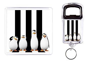 Abridor de botella y posavasos I Pingüinos del Madagascar