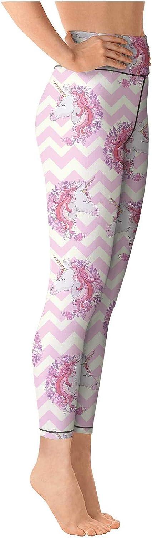 Medssii Lady Yoga Pants Unicorns with Rainbow High Waist Yoga Leggings with Pockets