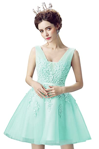 MisShow V-neck Lace Applique Juniors Homecoming Dress 2017 Short Prom Gowns at Amazon Womens Clothing store: