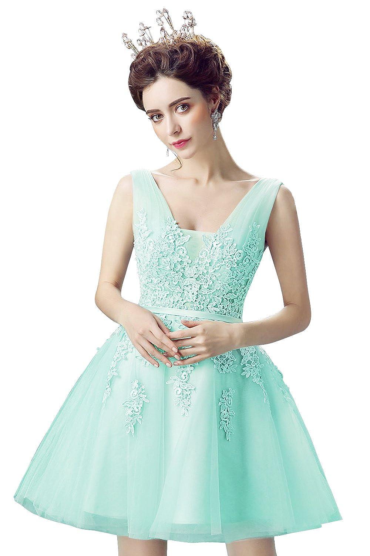 Babyonlinedress Vestido corto para fiesta de noche y para boda estilo A-line  elegante cuello redondo sin mangas espalda de cierre y de trenza talla 46   ... a5b771af3307