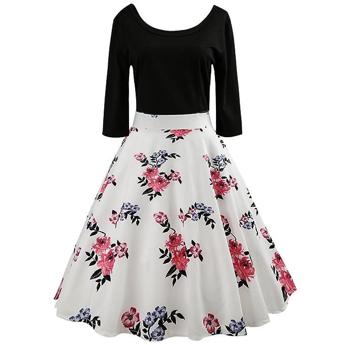 dfaf979693 Vestidos Mujer Invierno 2018 Atractivo Vestido Vintage Mujer para Fiesta  Baile 50s 65s Floral Impresión de