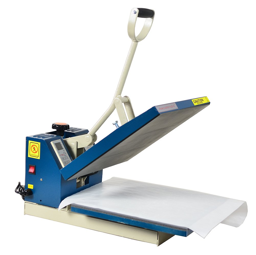 Fancierstudio Power Heat Press Industrial-Quality Digital 15-by-15-Inch Sublimation T-Shirt Heat Press 15x15 Blue White