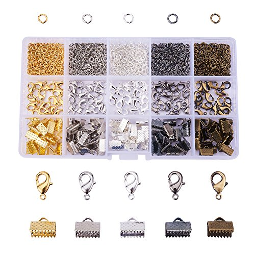 PandaHall Elite About 1425 Pcs Jewelry Finding Kits 5 Colors with 4mm Open Jump Ring, Lobster Claw Clasp and Ribbon Clamp End for Jewelry Making]()