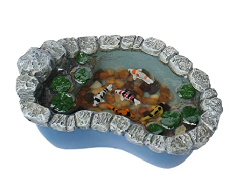 Georgetown Miniature Fairy Garden Koi And Lily Pad Pond Furniture Gnome  Figurine Statue Sculpture For Home