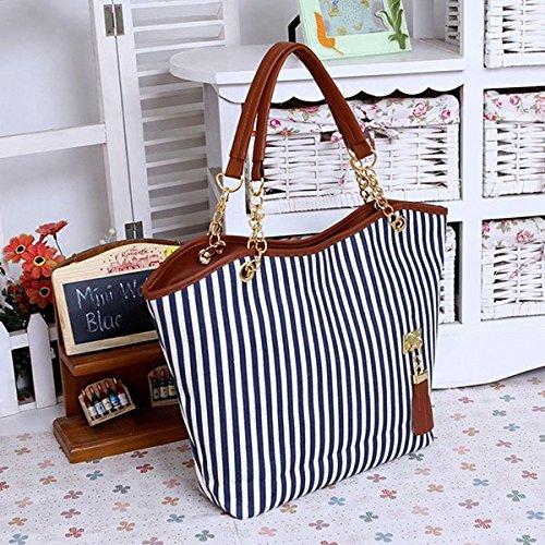 borsa della Donne Hobo Zipper wlgreatsp della della Stripes del borsa cartella moda Blue spalla Tote della di Stripe qzRf7