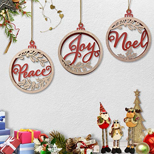 - ElekFX Christmas Great Gift Wooden Ornament 3 Pack Hanging Pendant, Home & Party & Christmas Tree Deocrative - Peace You Noel