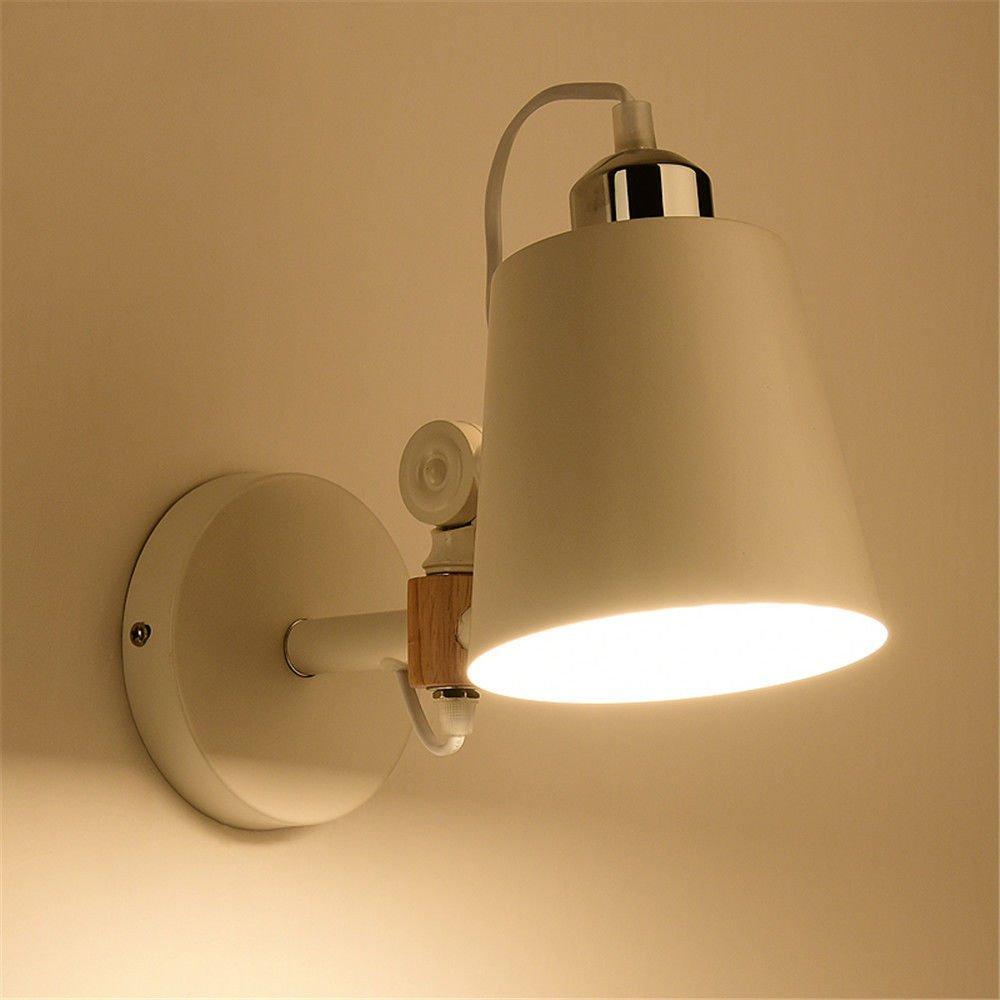 Wall lamp bracket light Wandlampe Wand Lampe Klammer Licht Wandlichter Wandbeleuchtung Sconces Wand Nachttischlampe Schlafzimmer aus Holz weiß H