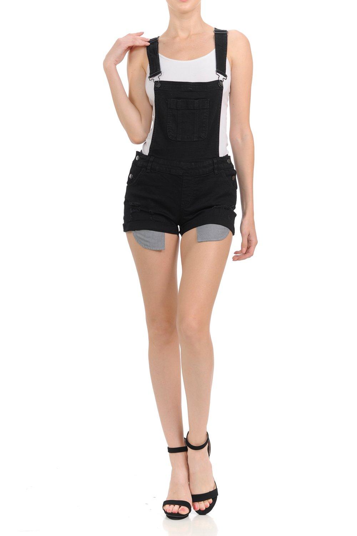 Wax Women's Juniors Overall Jean Shorts w Distressing (Black, Medium)