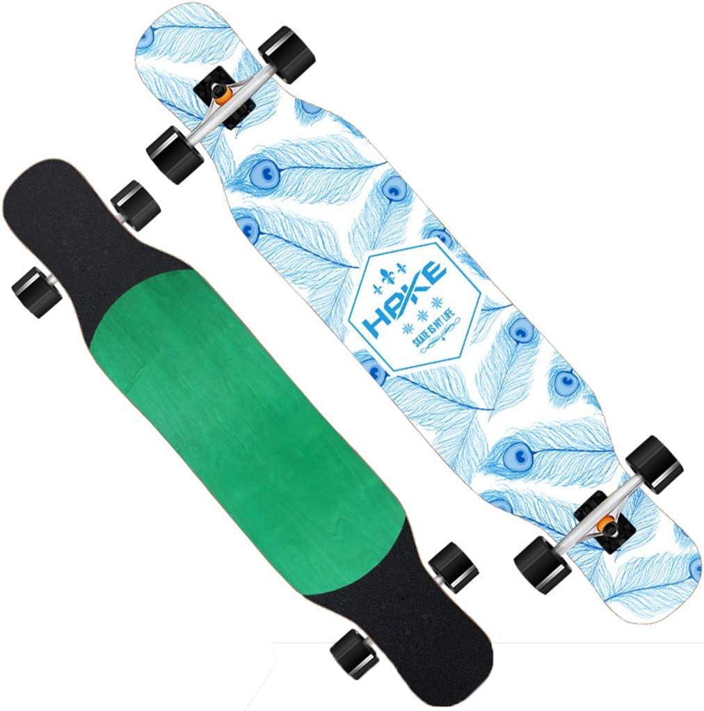 ロングボード スケートボード クルーザー 最高の贈り物 フリースタイルロングボードスケートボード スケートボードを踊る 46インチ アウトドアスポーツ 初心者からプロまで/男の子/女の子 ワイドデッキ #4
