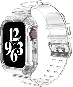 IWINTP Compatible for Apple Watch Band 42mm 44mm,Transparent Clear Watch Band Soft Silicone Sport Bands for iWatch Series 6/5/4/3/SE