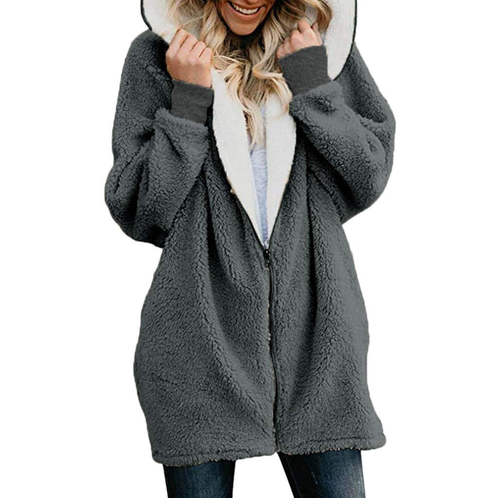 aihihe Plus Size Winter Coats for Women Warm Shaggy Lining Solid Oversized Fluffy Hooded Coats Jackets Outerwear Parka Gray by aihihe Outerwear