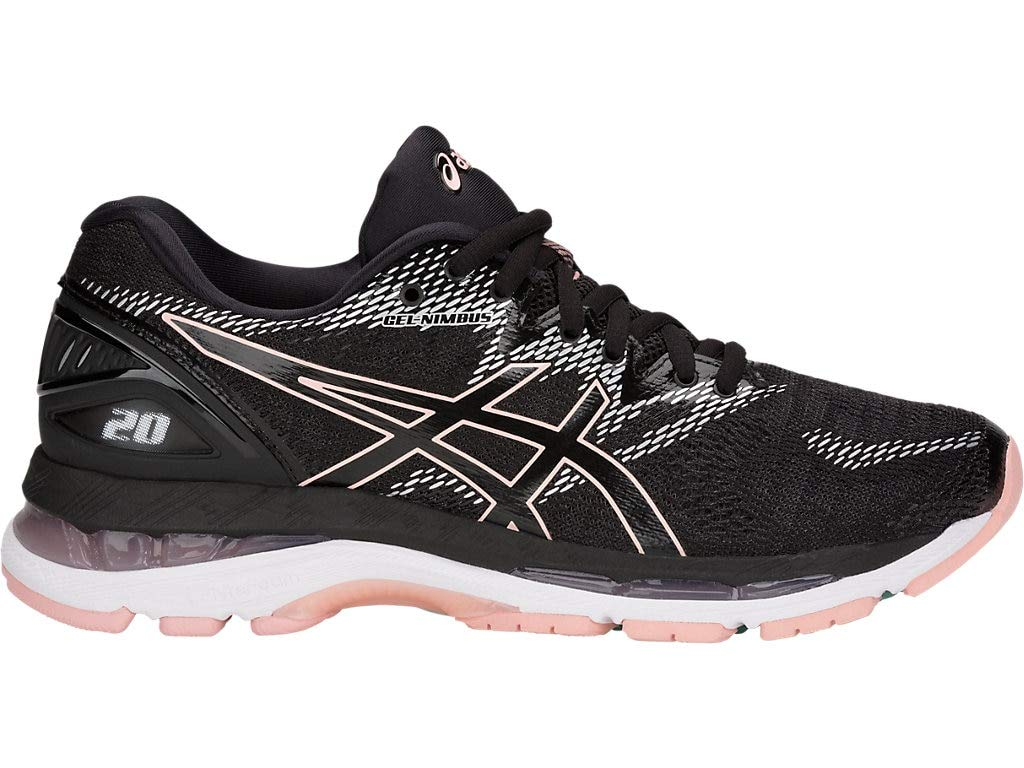 ASICS Women's Gel-Nimbus 20 Running Shoes, 7M, Black/Frosted Rose by ASICS