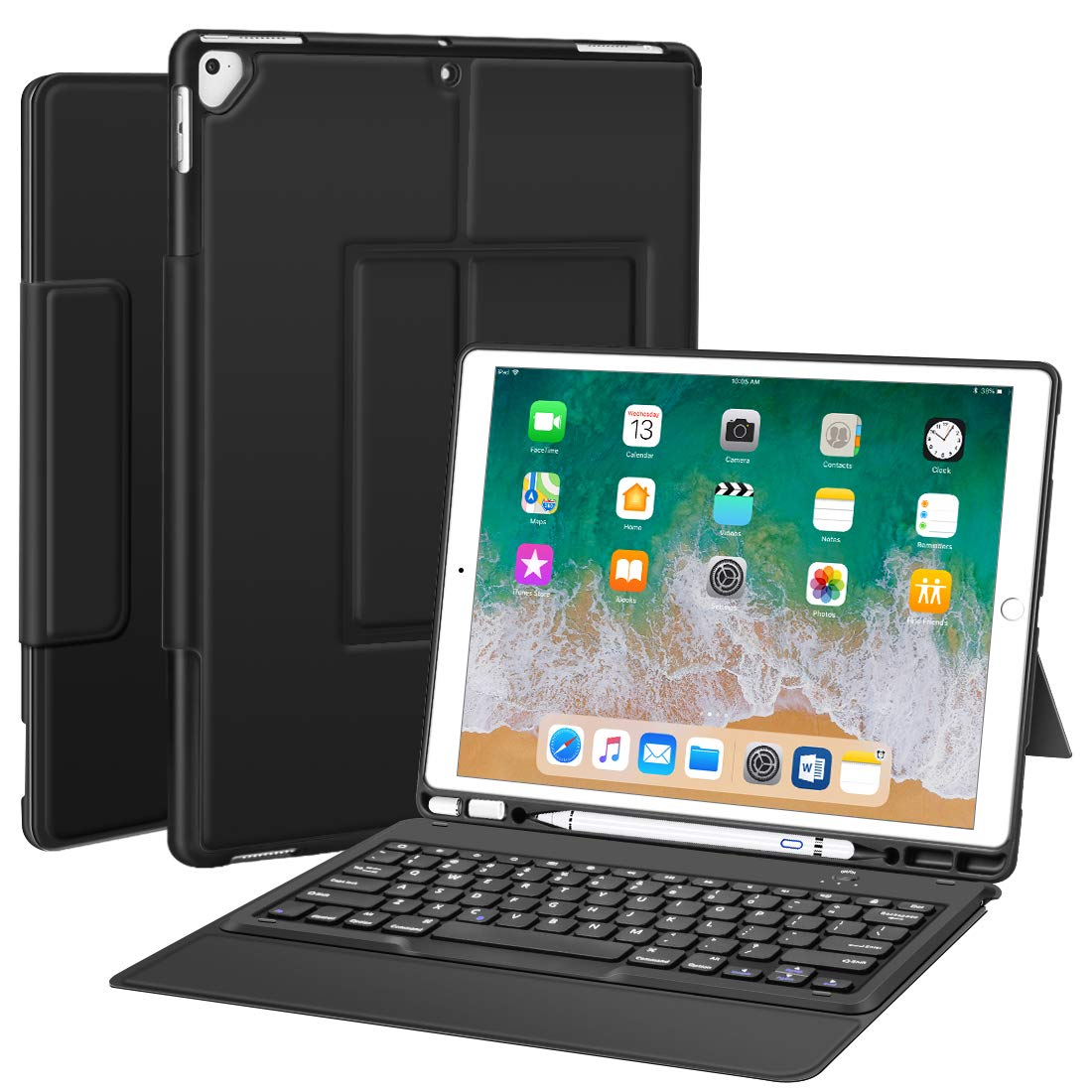 Sounwill ipad pro 12.9 Case with Keyboard Compatible for ipad pro 12.9'' 2015/2017, Ultra-Thin PU Leather Silicon Rugged Shock Keyboard Stand Case with Pencil Holder (Not Fit for 2018 New ipad)-Black