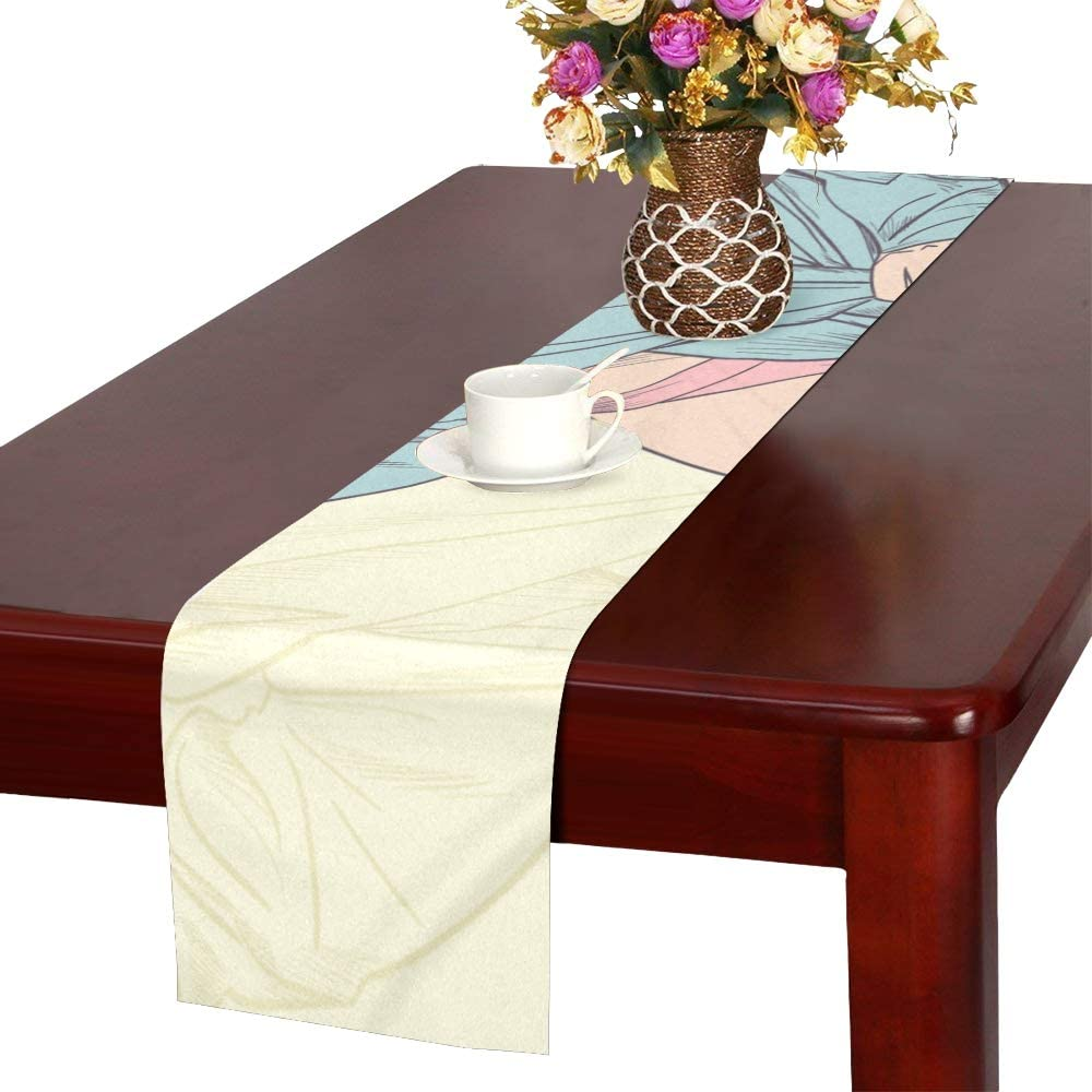 Amazon Com Jxcsgbd Coffee Bar Table Runner Sexy And Hot Beauty Animation Center Table Runner Coffee Table Runner Small 16x72 Inch For Dinner Parties Events Decor Home Kitchen