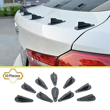 Cogeek - Kit de spoilers generadores de vórtex con forma de aleta de tiburón estilo EVO para techo de coche, universales, 10 unidades, color negro.