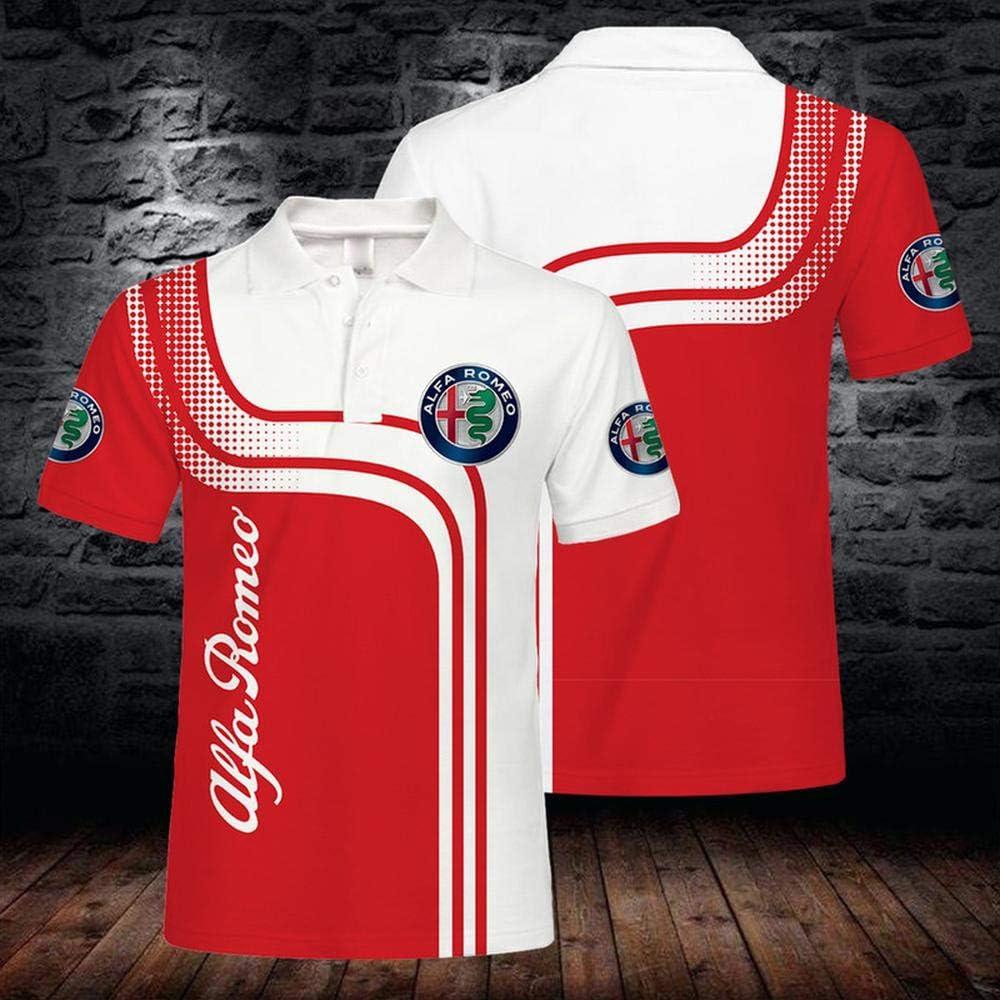 Geeignet F/ür Junge M/änner Und Frauen 3D-Drucken Alfa Romeo Beil/äufiges Kurzarmshirts Sweatshirt Sommer-M/änner T-Shirts Polo-Hemd