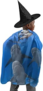 YUIOP Deluxe Halloween Children Costume Summer Beach Shark Diving Wizard Witch Cloak Cape Robe and Hat Set