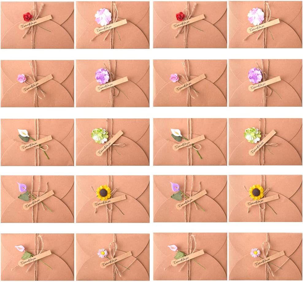 20 Piezas Tarjeta de Felicitación Papel Kraft Sobres con Flores Secas para Regalo Cumpleaños Boda (20 pcs)