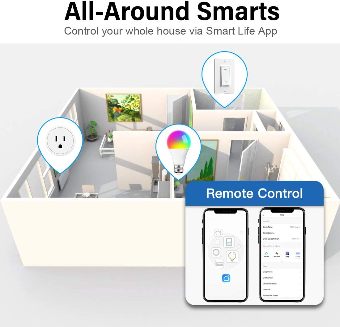 Alexa Smart Plugs - Aoycocr Mini WIFI Smart Socket Switch Works With Alexa Echo Google Home, Remote Control Smart Outlet with Timer Function, No Hub Required, ETL/FCC Listed 4 Pack Only 2.4GHz Network - -