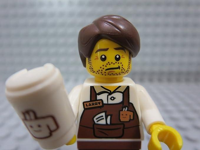 LEGO 2 NEW COFFEE MINIFIGURES GIRL AND BOY BARISTAS WITH BOOK BROOM AND CUP MUG