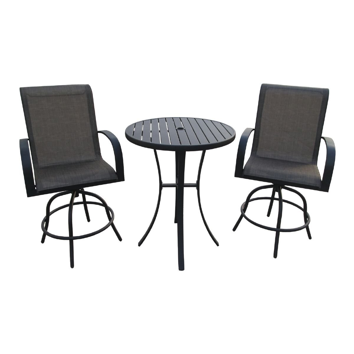 Amazon com backyard expressions 913018 3 piece bar height swivel chair set with metal slat table brown garden outdoor