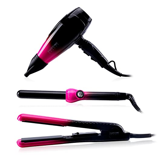 PARWIN BEAUTY Professional Hair Care Tools – Super Negative Ionic 1875W Multi-setting Hair Dryer & Ceramic Flat Iron Hair Straightener & 410°F Maximum Curling Iron, 360° Swivel Cord, Black Red