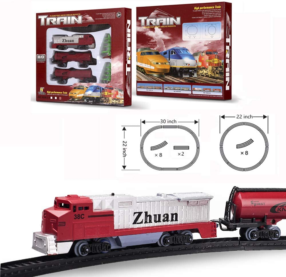 FENFA Mini Red Freight Train Set Electric Toys Battery Operated Train Track Toys Play Set for Boys and Girls Kids Christmas Birthday Present for Children 1638-3C