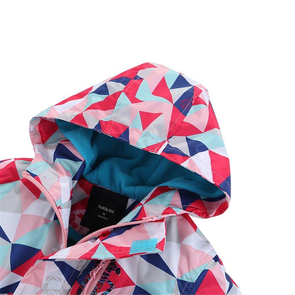Hiheart Girls Waterproof Fleece Lined Jacket Hood Windproof Rain Coat Pink 9/10 by Hiheart (Image #4)