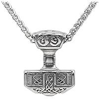 Norsesprit Men 316L Stainless Steel Norse Viking Thor's Hammer MJOLNIR Pendant Necklace