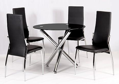 HGG-Tavolo da pranzo in vetro, con 4 sedie per sala da pranzo, da ...