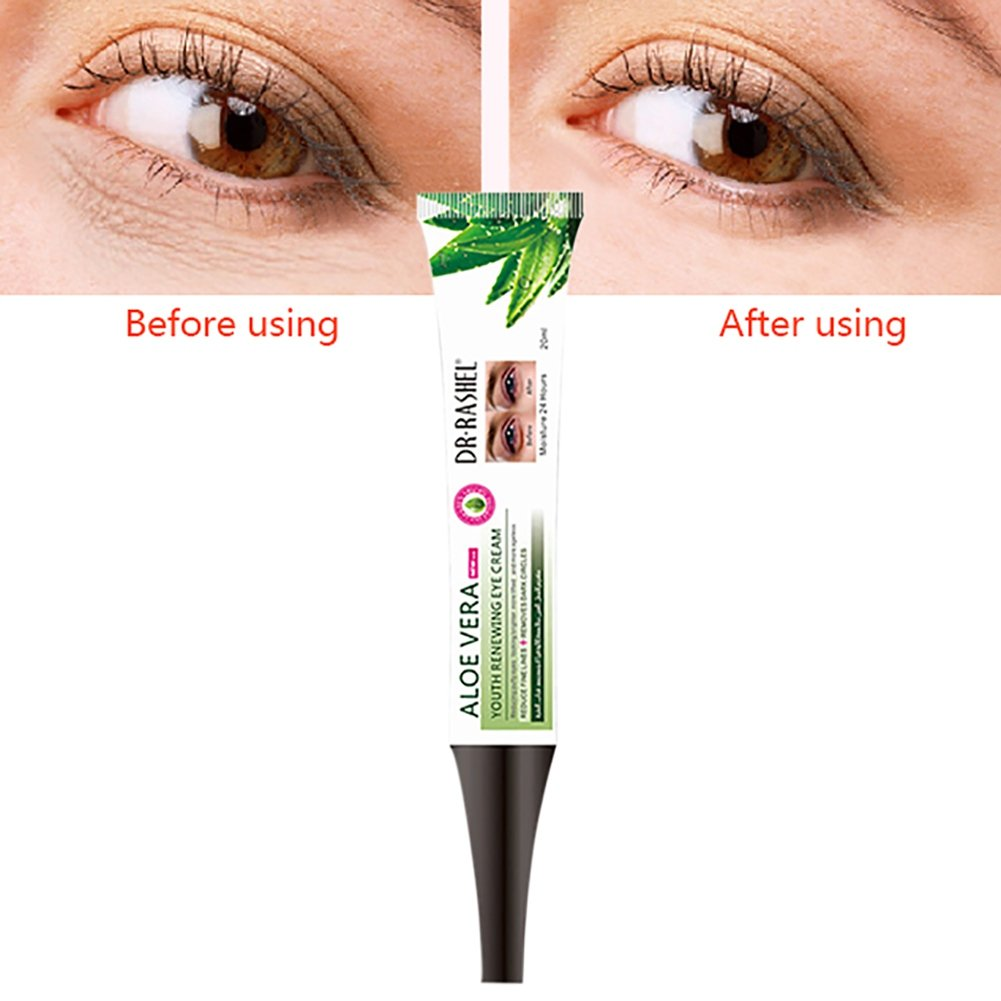 Eye Gel for Dark Circles and Puffiness. Reduce Wrinkles, Bags & Crows Feet. Natural & 100 Pure Firming Anti Aging Gel for Men and Women with Aloe Vera(20ML) Allouli