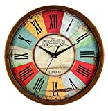Elios 12' Round Designer Vintage Wall Clock with Glass for Home / Kitchen / Living Room / Bedroom (Silent Non Ticking Movement)