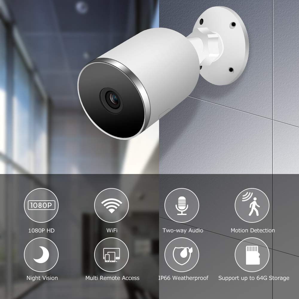 Kolaura Outdoor Security Camera, 1080P Wireless Home Surveillance Bullet Camera, IP66 Waterproof, Support Two-way Audio, Night Vision, Motion Detection, Cloud Storage Service