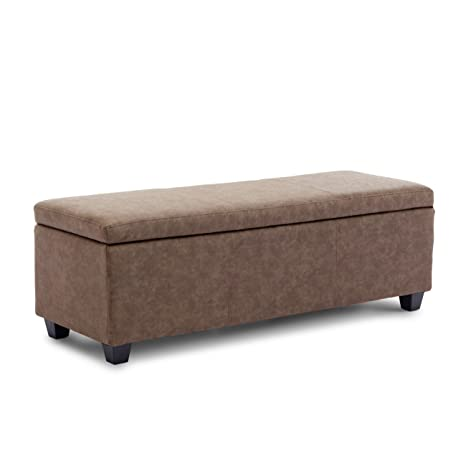 Miraculous Belleze Modern Ottoman Bench 48 Inch Living Room Storage Rectangular Furniture Leather Luxury Rustic Brown Dailytribune Chair Design For Home Dailytribuneorg