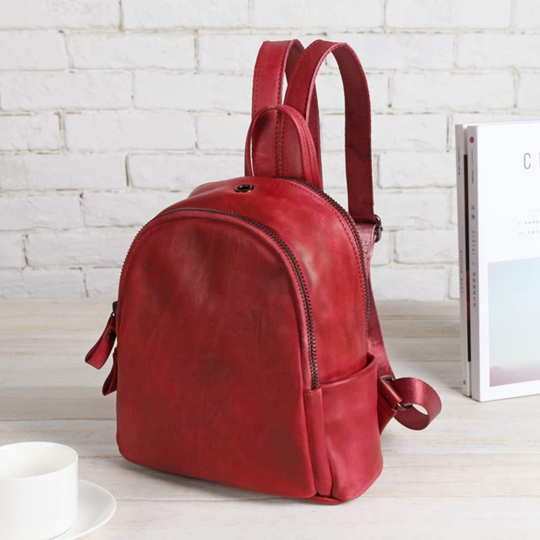 商丘市梁园区高贝服装店 女性のための本物の革のショルダーバッグ女の子のジッパーバックパックの学校のバッグ (色 : レッド)  レッド B07R8J6LVM
