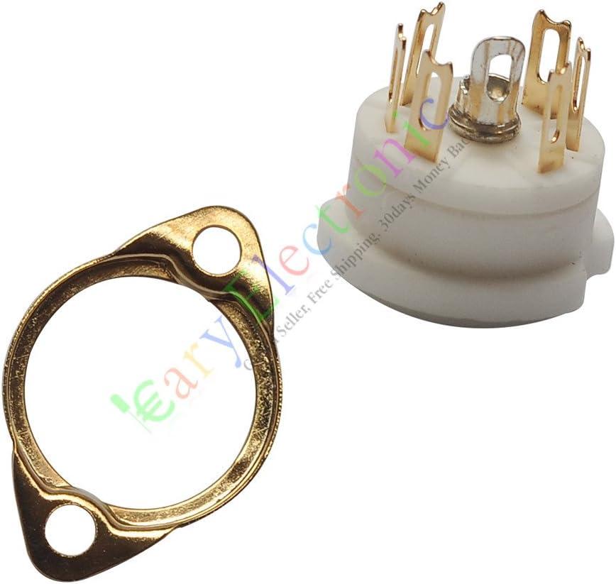 cayyi 4piezas 6Pin oro cerámica tubo de vacío sockets piezas de Radio Amplificador de audio HiFi DIY