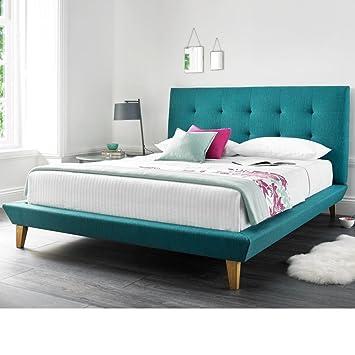 Happy Beds Marietta Pied De Lit Bas Moderne Capitonnée Tissu Lit - Cadre de lit moderne