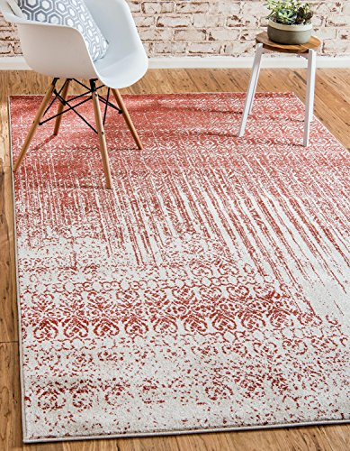 Red Transitional Area Rug - Unique Loom Del Mar Collection Contemporary Transitional Red Area Rug (3' x 5')