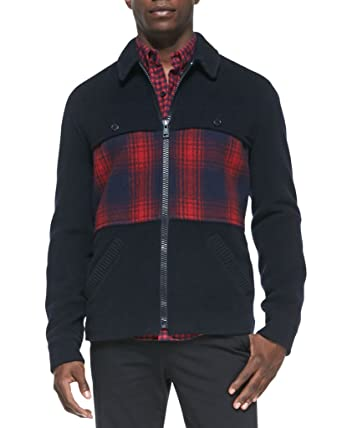 3364e3ceb0f71 Band Of Outsiders Men s Multicolor 100% Wool Sweater Jacket at Amazon Men s  Clothing store