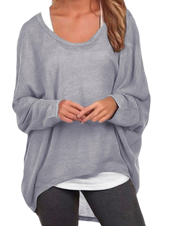 ZANZEA Women's Long Batwing Sleeve Loose Oversize Pullover Sweater Top Blouse Gray US 10/Tag Size L by ZANZEA