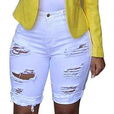 6d85e74950d435 Sunenjoy Jeans Femmes Bermudas Dechiré Troué Denim Pantalons Courts 3/4  Casual Short Pantacourt Taille Haute Legging Casual Eté Confortable Mode ...