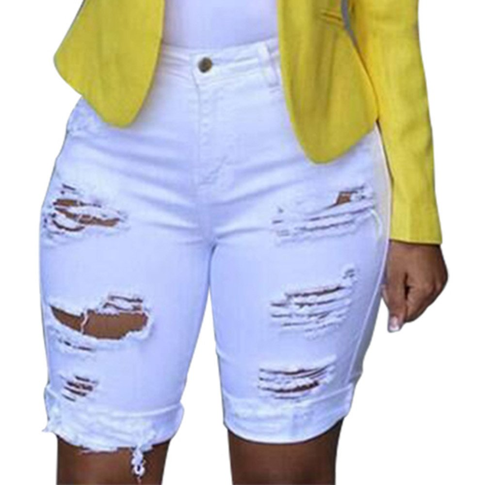iLUGU Women Elastic Destroyed Hole Leggings Short Pants leggings for Women Denim Shorts Ripped Jeans