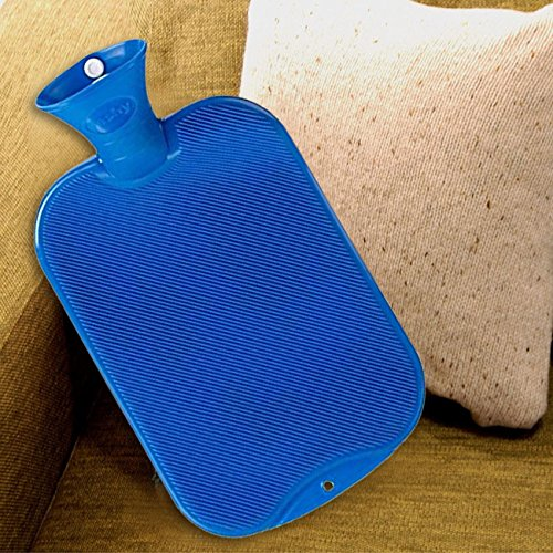 Fashy Classic Hot Water Bottle Single Ribbed 2.0L, Blue