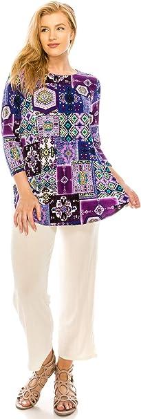 Jostar Womens Slub HIT Bottom Layered Top 3//4 Sleeve Sublimation Rhinestone