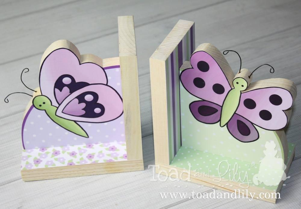 Sugar Plum Butterfly Girls Bookends Kids Bedroom Baby Nursery Wood Bookends BE0007