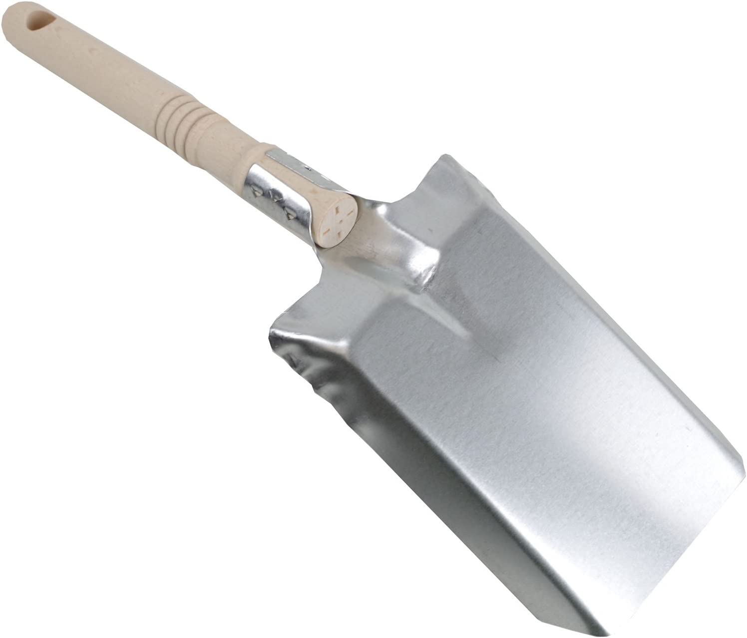 Kamino-Flam Fireplace Coal Shovel with Wooden Handle Dustpan Silver 17 x 10.5 cm Coal Scoop Wooden Handled Shovel approx Galvanised Steel Ash Shovel with Perforated Handle
